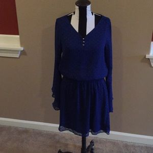 Blue white house black market bell sleeve dress